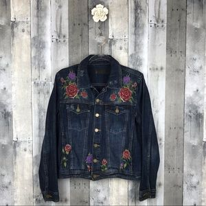 BLANK NYC Embroidered Floral Denim Jacket Med EUC